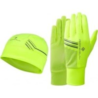 Ronhill Beanie and Glove set medium/large Fluo Yellow/Black