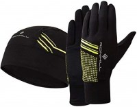 Ronhill Beanie and Glove set small/medium Black/Fluo Yellow