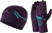 Ronhill Beanie and Glove set small/medium Blackberry/Mint
